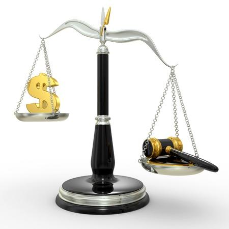 balanza justicia: escalas de cl�sicas de la justicia, aislados en fondo blanco Foto de archivo
