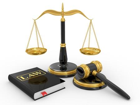 balanza de la justicia: martillo legal, escalas y libro de derecho sobre un fondo blanco