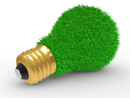 Green energy. Green grass on lightbulb on a white background photo