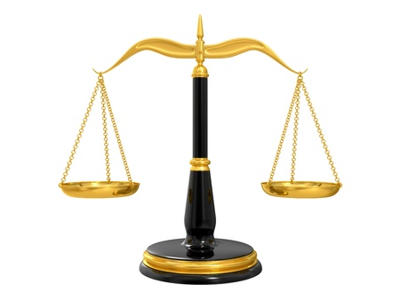 law scale: classic scales of justice, isolated on white background Stock Photo