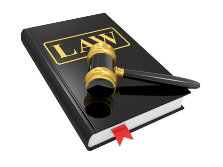 commercial law: legal gavel and law book on a white background