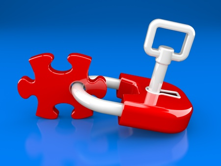 lock, key and puzzle piece on a dark blue background Stock Photo - 8919835