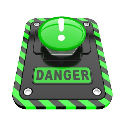 Danger, green help button  on a white background Stock Photo - 8919832