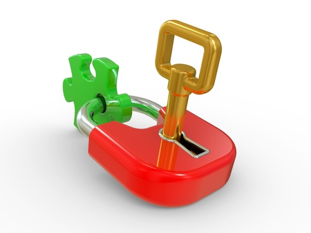 lock, gold key and puzzle piece on a white background Stock Photo - 8919845