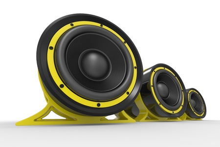 3d illustration of yellow audio speaker on white background illustration