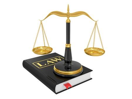 balance de la justice: �chelles sur un livre de droit sur un fond blanc