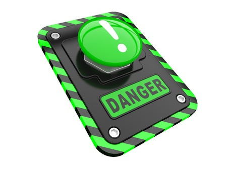 Danger, green help button  on a white background photo