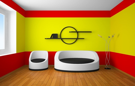 furniture design: Abstract modern design of an interior room with nice furniture inside