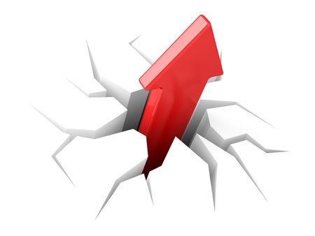demolishing: The arrow leaves a crack upwards. 3D an illustration on a white background