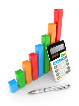 investment goals: business chart showing financial success. objects isolated on a white
