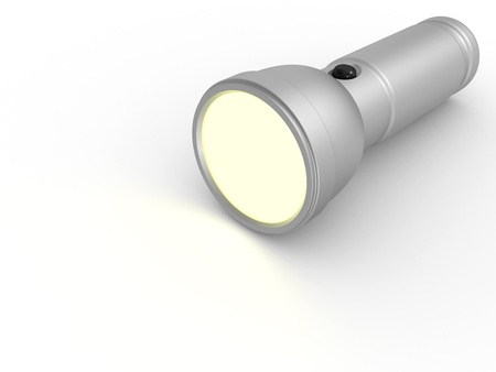flashlight: Aluminium flashlight lighting the white surface. 3d render illustration