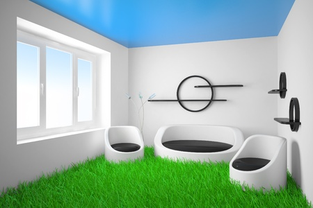 Abstract modern design of an interior with a grass on a floor photo