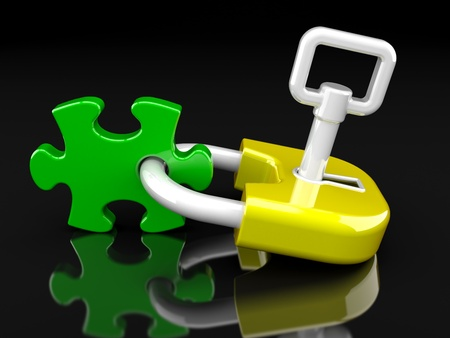 lock, key and puzzle piece on a black background Stock Photo - 9034846