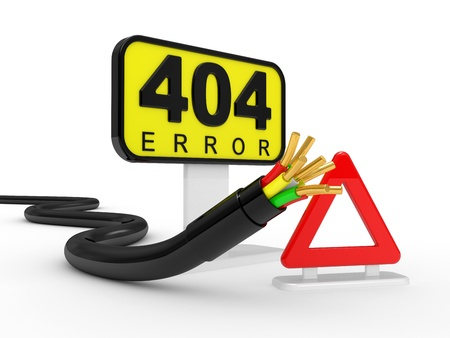 404 error sign and communications cable Stock Photo - 9103619