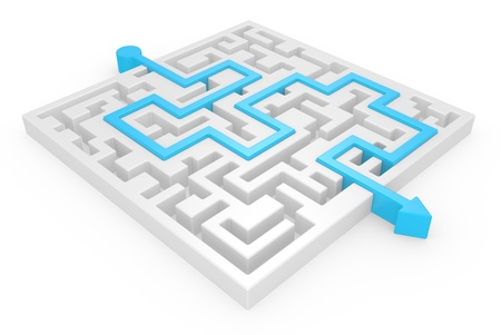 3D Maze with blue arrow on a white background photo