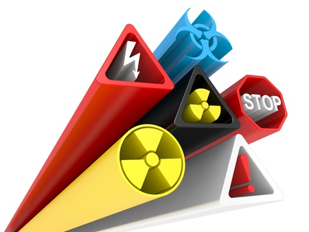 radioisotope: 3D Image of various danger and warning signs on a white background