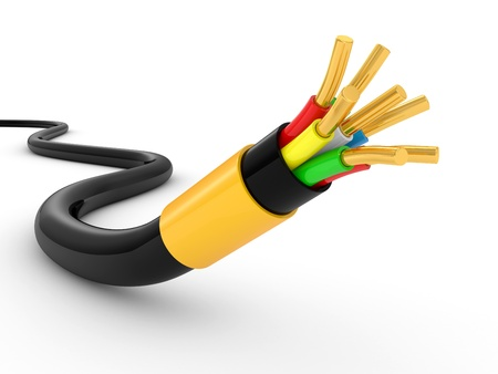 conductivity: electrical cable on white background. Isolated 3d model Stock Photo
