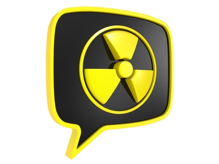 radioisotope: 3D Radiation Sign on a white background Stock Photo