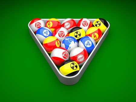 Billiard balls with danger signs and earth on a green background Stock Photo - 9162061
