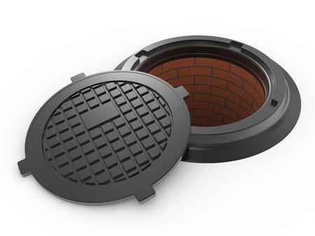 canalization manhole cover on white background isolated photo