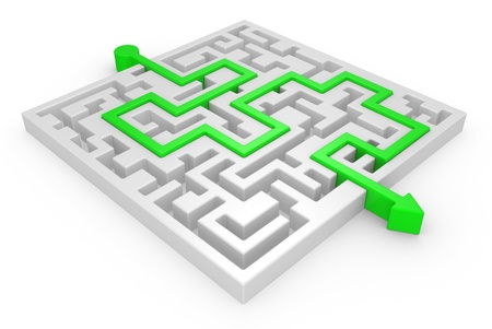 3D Maze with green arrow on a white background Stock Photo