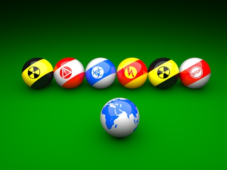 Billiard balls with danger signs and earth on a green background Stock Photo - 9191610