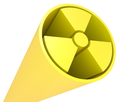 gamma radiation: 3D Radiation Sign on a white background Stock Photo