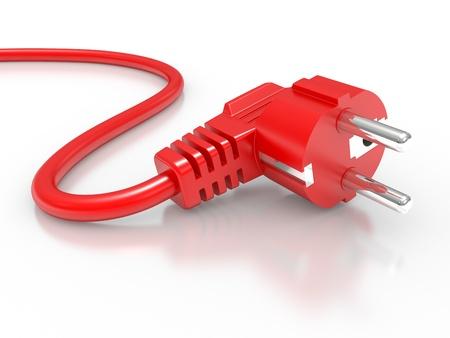 riek: rode elektrische stekker geïsoleerd op witte achtergrond