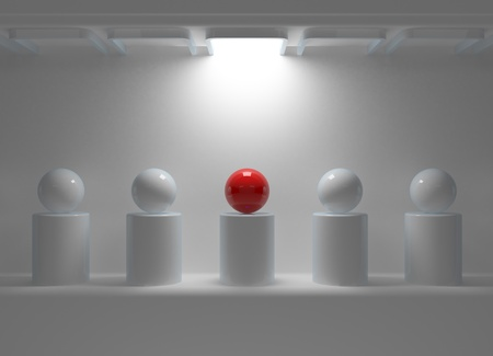 Leadership concept with red sphere and many white spheres photo