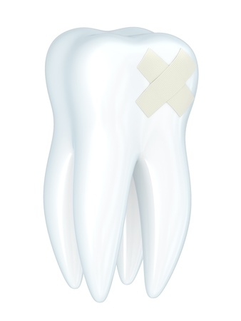 anaesthesia: toothache 3d with a plaster isolated on a white background Stock Photo