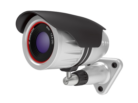 looking away from camera: Security camera isolated on white background Stock Photo