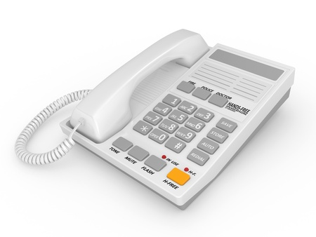Modern white office telephone on a white background. Stock Photo - 9302114