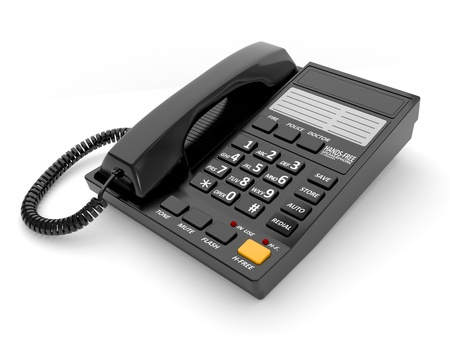 Modern black office telephone on a white background. Stock Photo - 9318183