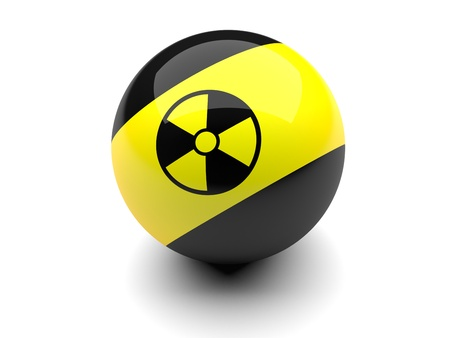 Billiard ball with radiation signs  on a white background photo