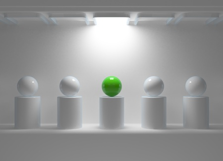 individuality: Leadership concept with green sphere and many white spheres