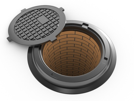 canalization manhole cover on white background isolated