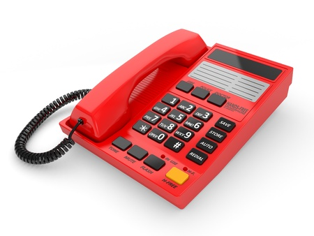 Modern red office telephone on a white background. Stock Photo - 9356728