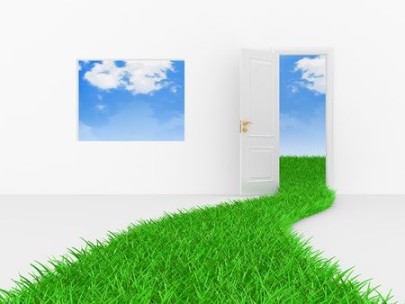 Green way, path to a door on a white background