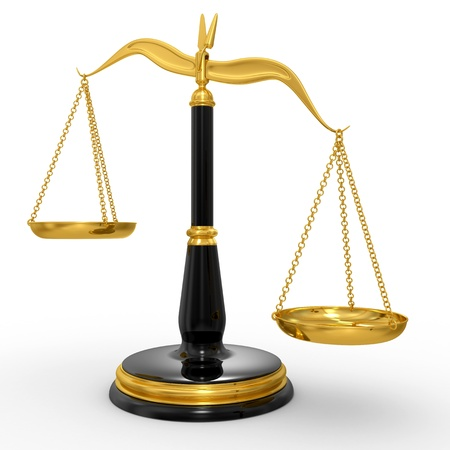 Klassiker Waage der Gerechtigkeit, isoliert auf wei?em Hintergrund