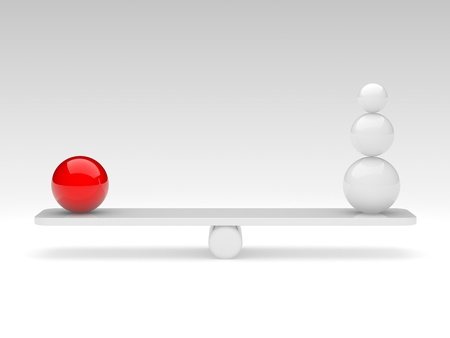 poise: the spheres in balance. 3d rendered illustration. Stock Photo