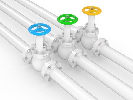 leveringen: industriële kleppen op pipelines, 3D illustratie op een witte achtergrond Stockfoto
