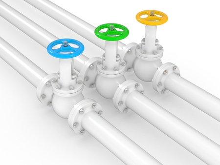 water wheel: industrial valves on pipelines, 3D illustration on a white background Stock Photo