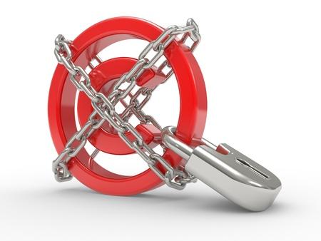 intellect: rosso lucido simbolo di copyright e le catene su sfondo bianco