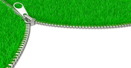 Zipper on white background. 3D image isolated on a white photo