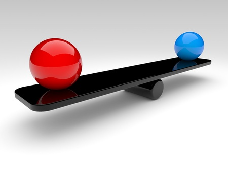 comparison: two spheres in balance. 3d rendered illustration.