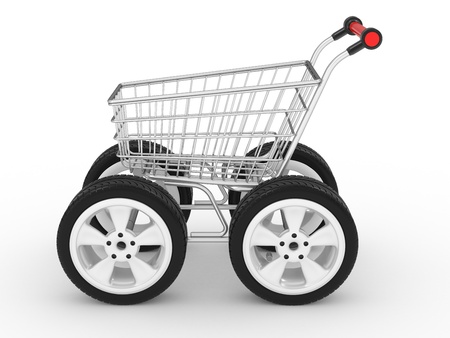 3d shopping cart with big car wheel isolated on white photo