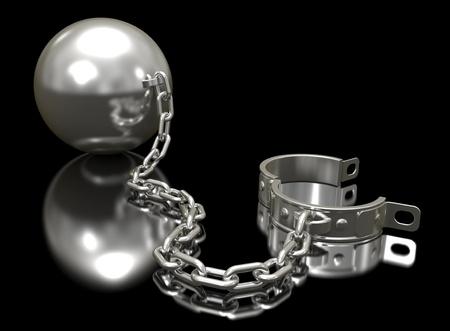 shackled: Bola de acero de una cadena y grillete sobre fondo negro