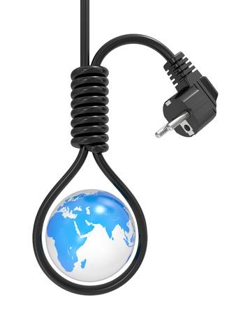 global problem: Planeta tierra en un bucle en la horca, una crisis energ�tica Foto de archivo