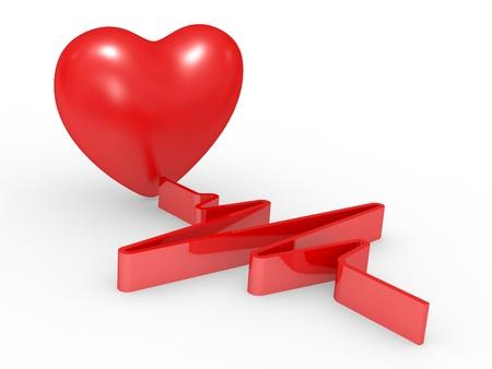 cardioid: Coraz�n rojo y cardiogram sobre fondo blanco