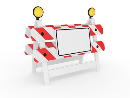 Road warning sign on a white background photo